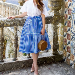 J. Crew Button Front Striped Skirt In Blue NEW